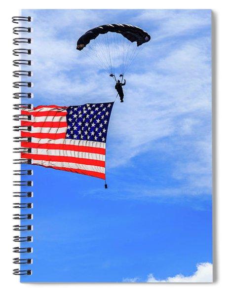 Spiral Notebook featuring the photograph Socom Flag Jump by Doug Camara