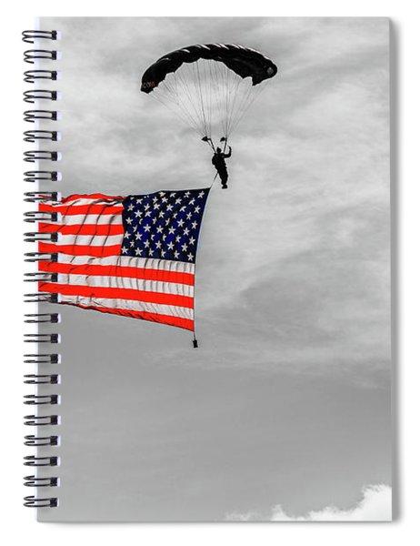 Socom Flag Jump In Selective Color Spiral Notebook by Doug Camara