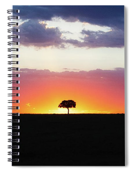 Solitary Tree Silhouette At Colorful African Sunset Spiral Notebook