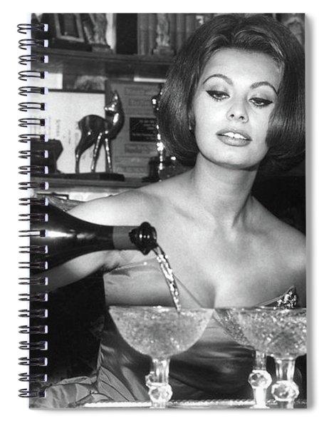 Sophia Loren, Coupe Champagne Glasses Spiral Notebook