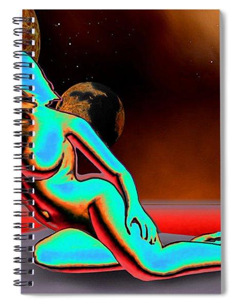 Spiral Notebook featuring the digital art Space Fantasy Goddess Pose2ab Alienmap3 Multimedia Digital Artwork by G Linsenmayer