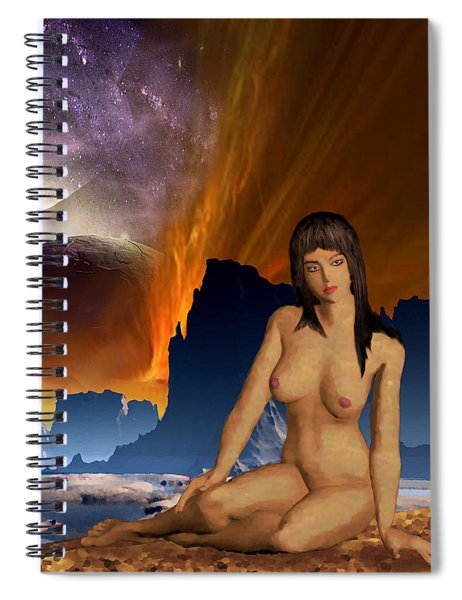 Spiral Notebook featuring the painting Space Fantasy I-elnia Original Nude Goddess Artwork Multimedia Painting. by G Linsenmayer