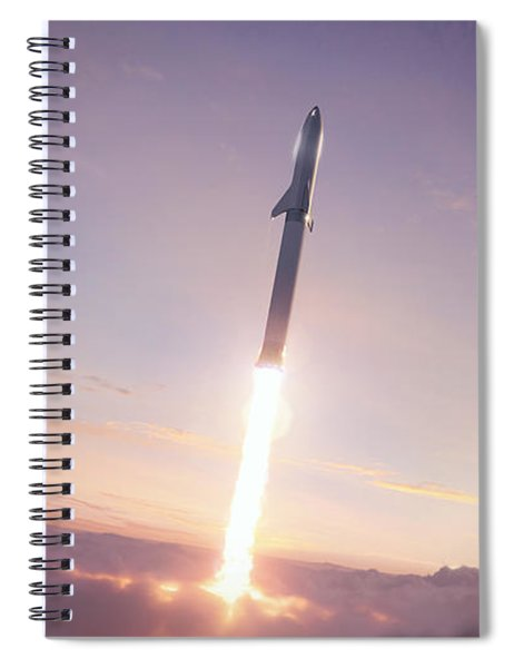Spacex Bfr Through The Clouds Spiral Notebook