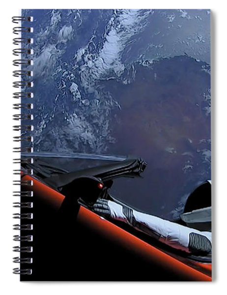 Spacex Driving Around Earth Spiral Notebook