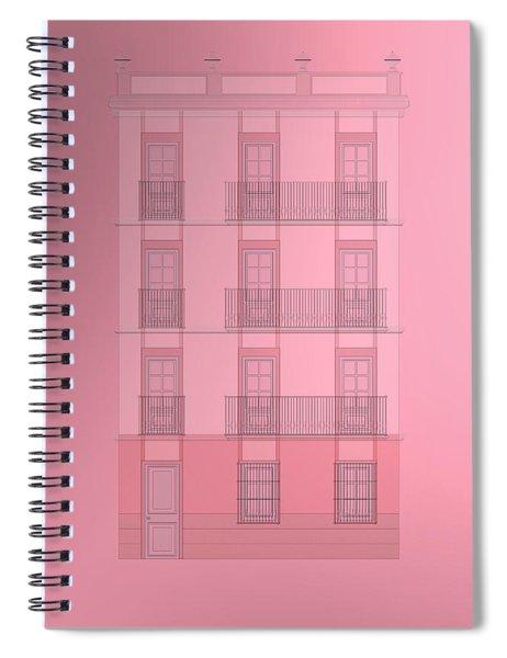 Spanish Architecture Over Violet Background. Spiral Notebook