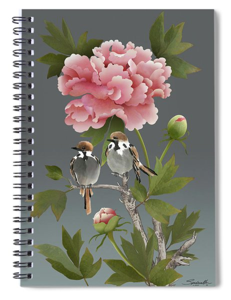 Sparrows And Peony Spiral Notebook