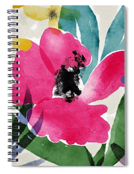 Spring Garden Pink- Floral Art By Linda Woods Spiral Notebook
