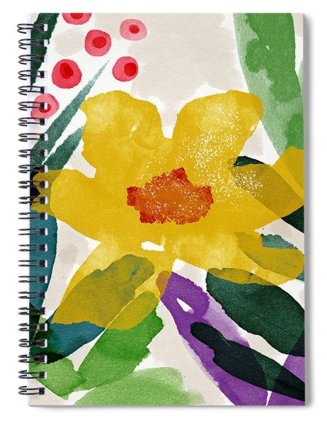 Spring Garden Yellow- Floral Art By Linda Woods Spiral Notebook