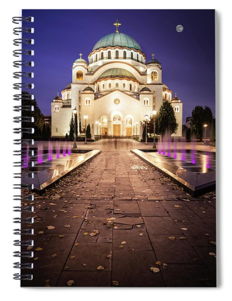 St. Sava Temple In Belgrade Nightscape Spiral Notebook