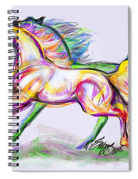 Crayon Bright Horses Spiral Notebook