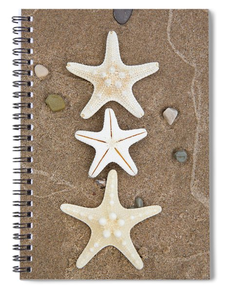 Starfish In The Sand Spiral Notebook by Emily Johnson