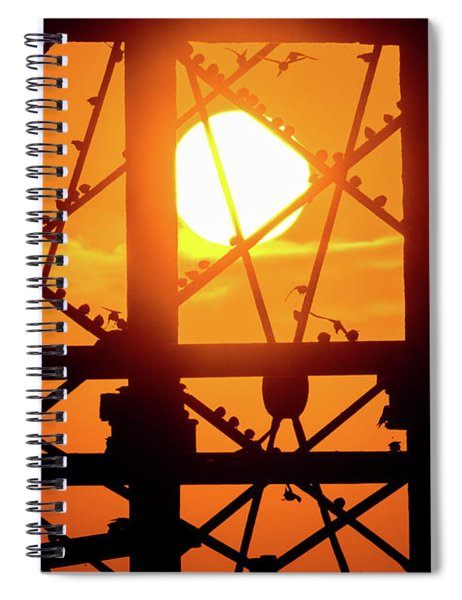Starlings At Sunset On Aberystwyth Piwer Spiral Notebook