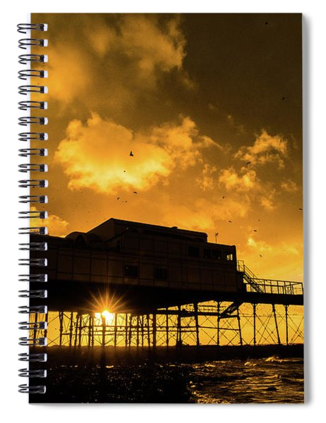Starlings Ataberystwyth Pier At Sunset Spiral Notebook