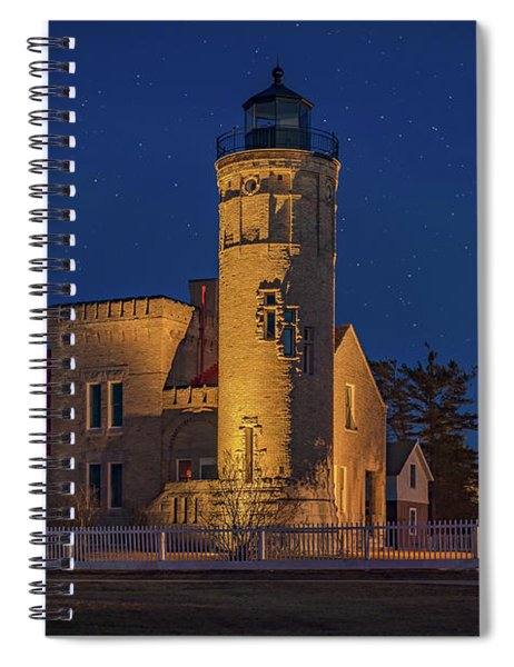Starry Night At Old Mackinac Point Lighthouse  Spiral Notebook