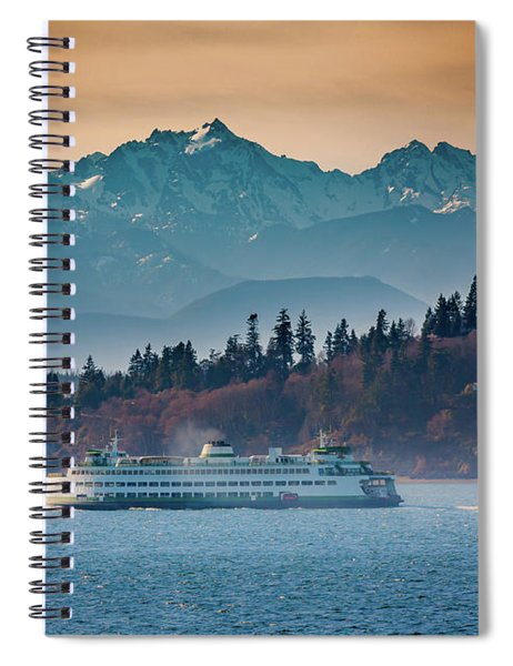 Spiral Notebook featuring the photograph State Ferry And The Olympics by Inge Johnsson