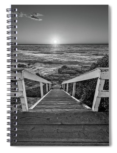 Steps To The Sun  Black And White Spiral Notebook