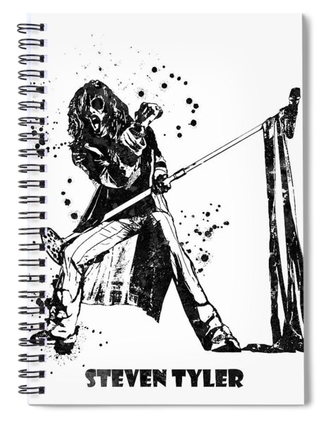 Steven Tyler Microphone Aerosmith Black And White Watercolor 02 Spiral Notebook