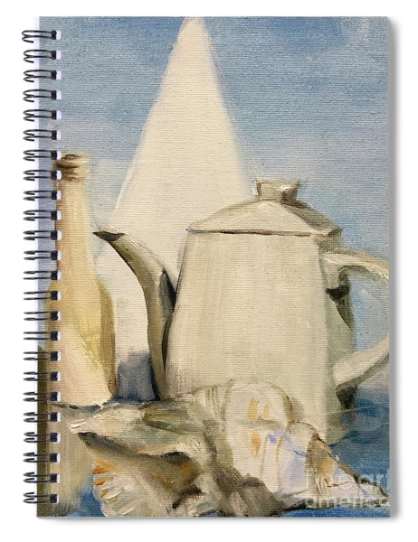 Still Life Of Pottery In White Spiral Notebook