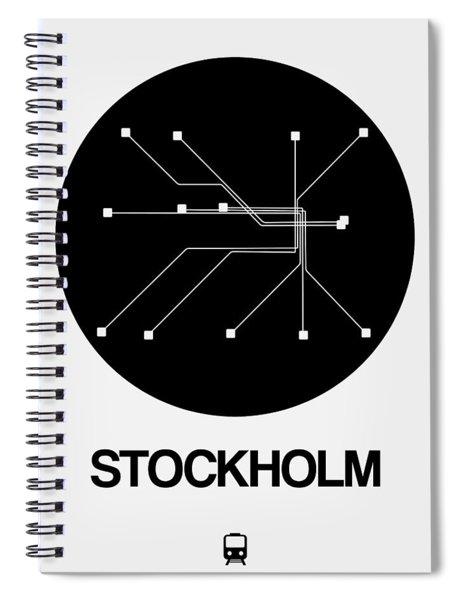 Stockholm Black Subway Map Spiral Notebook