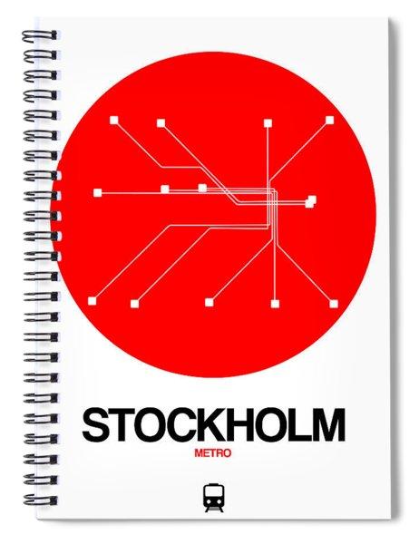 Stockholm Red Subway Map Spiral Notebook