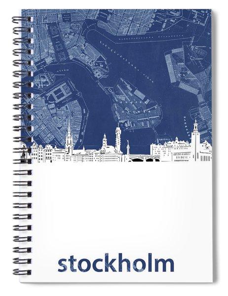 Stockholm Skyline Map Blue Spiral Notebook