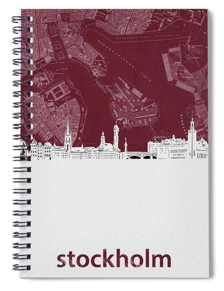 Stockholm Skyline Map Red Spiral Notebook