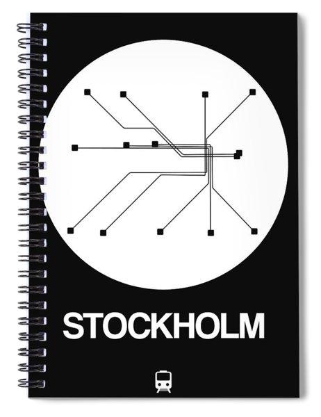 Stockholm White Subway Map Spiral Notebook