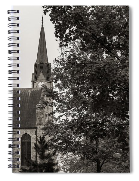 Stone Chapel - Black And White Spiral Notebook by Allin Sorenson