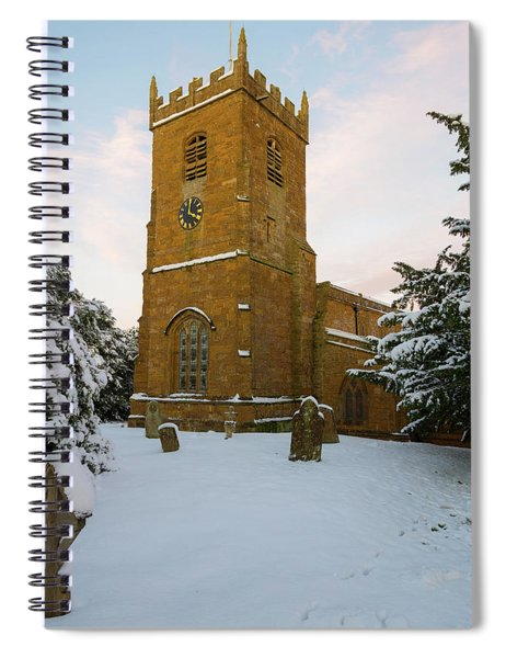 Stone Church In The Snow At Sunset Spiral Notebook