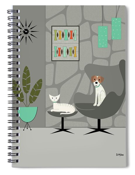 Stone Wall With Dog And Cat Spiral Notebook