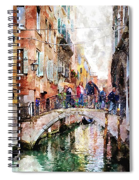 People On Bridge Over Canal In Venice, Italy - Watercolor Painting Effect Spiral Notebook