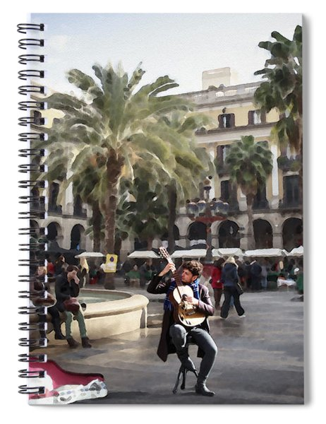 Street Music. Guitar. Barcelona, Plaza Real. Spiral Notebook