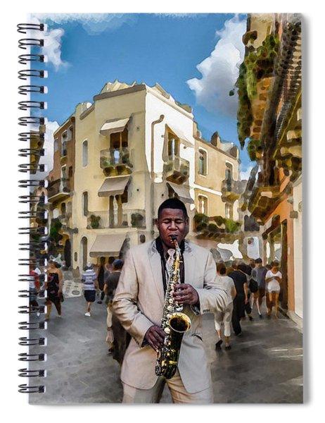 Street Music. Saxophone. Spiral Notebook