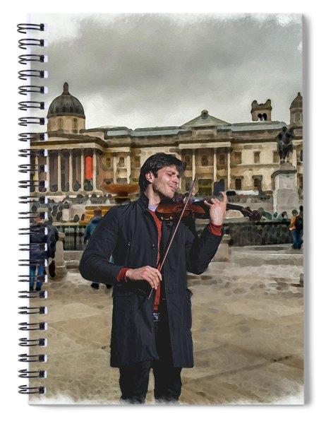 Street Music. Violin. Trafalgar Square. Spiral Notebook