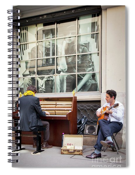Street Musicians - Paris Spiral Notebook by Brian Jannsen