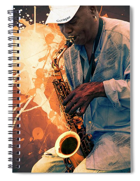 Street Sax Player Spiral Notebook