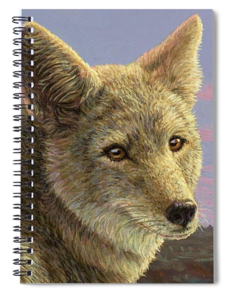 Study Of A Coyote Spiral Notebook by James W Johnson