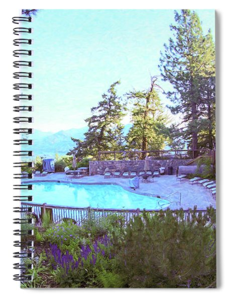 Sun Mountain Lodge Pool With A View Of The North Cascade Mountain Range Spiral Notebook by Omaste Witkowski