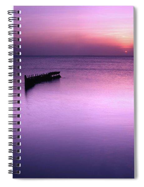 Sun Sets On A Sunken Boat Spiral Notebook
