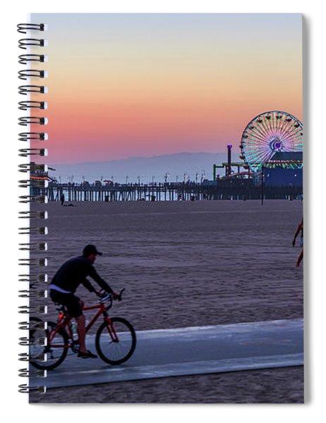 Sundown Ride To The Pier Spiral Notebook