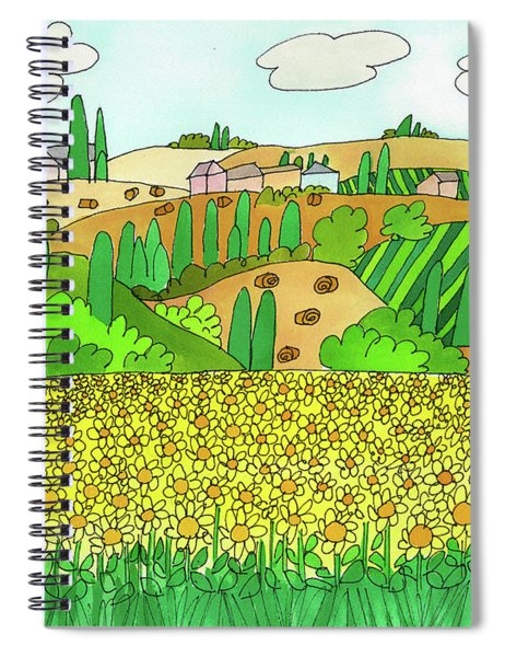 Sunflower French Countryside Spiral Notebook