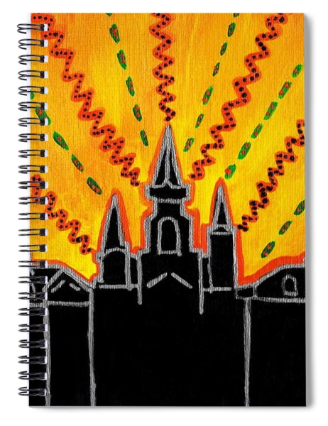 Spiral Notebook featuring the painting Sunrise Over Jackson Square New Orleans Hand Painted Cityscape by Samantha Galactica