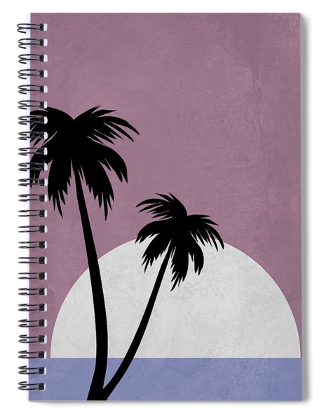 Sunset And Beach Palm Trees Spiral Notebook