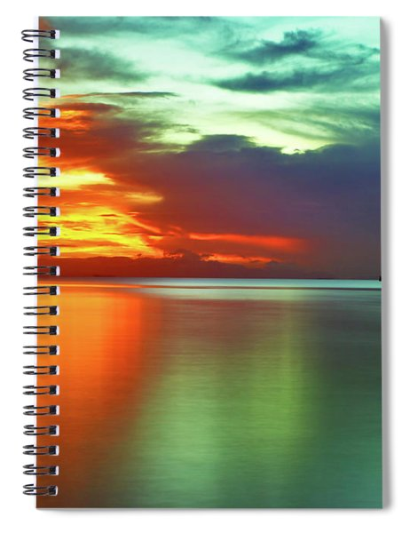 Sunset And Boat Spiral Notebook