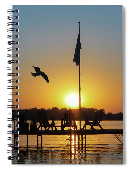 Sunset Dock Flag Silhouette Spiral Notebook by Patti Deters