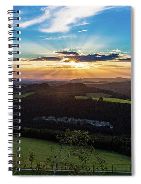 Sunset In Saxon Switzerland, Lilienstein Spiral Notebook