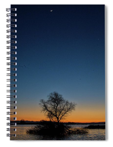 Sunset In The Refuge With Moon Spiral Notebook