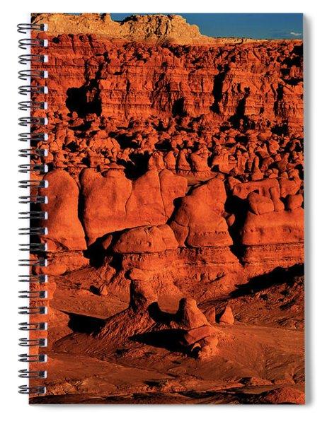 Sunset Light Turns The Hoodoos Blood Red In Goblin Valley State Park Utah Spiral Notebook