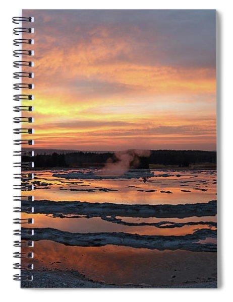 Sunset Over Great Fountain Geyser Spiral Notebook