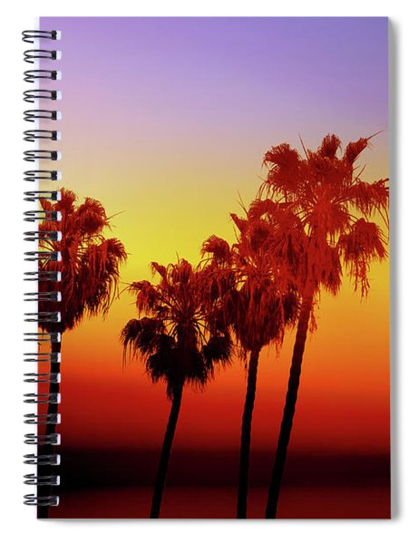 Sunset Palm Trees- Art By Linda Woods Spiral Notebook